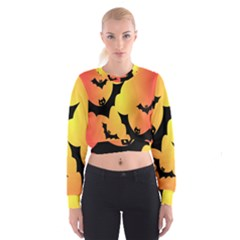 Bats Orange Halloween Illustration Clipart Women s Cropped Sweatshirt