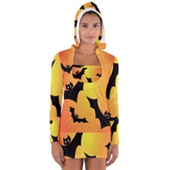 Bats Orange Halloween Illustration Clipart Women s Long Sleeve Hooded T-shirt