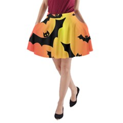 Bats Orange Halloween Illustration Clipart A-Line Pocket Skirt