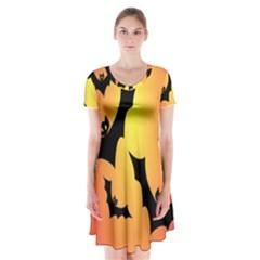 Bats Orange Halloween Illustration Clipart Short Sleeve V-neck Flare Dress