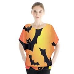 Bats Orange Halloween Illustration Clipart Blouse