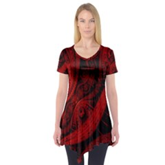Batik Chevron Wave Free Red Short Sleeve Tunic