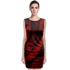 Batik Chevron Wave Free Red Classic Sleeveless Midi Dress