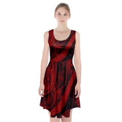 Batik Chevron Wave Free Red Racerback Midi Dress