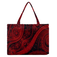 Batik Chevron Wave Free Red Medium Zipper Tote Bag