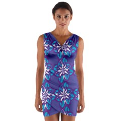 Analogous Blue Flower Wrap Front Bodycon Dress