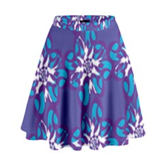 Analogous Blue Flower High Waist Skirt