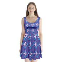 Analogous Blue Flower Split Back Mini Dress