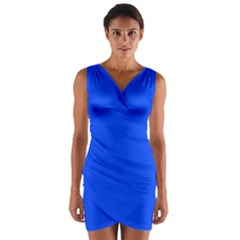 Blue Color Wrap Front Bodycon Dress