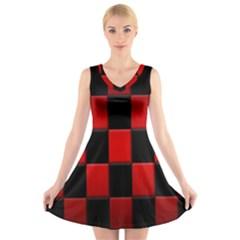 Board Red Black V-Neck Sleeveless Skater Dress