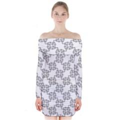 Blue Symbol Long Sleeve Off Shoulder Dress
