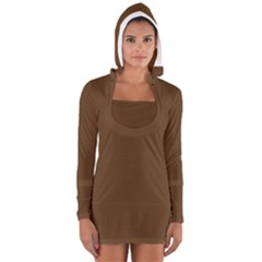Brown Color Women s Long Sleeve Hooded T-shirt