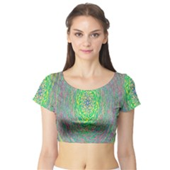 Abstraction Illusion Rotation Green Gray Short Sleeve Crop Top (tight Fit)