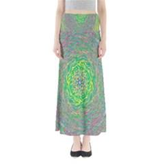 Abstraction Illusion Rotation Green Gray Maxi Skirts