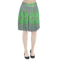 Abstraction Illusion Rotation Green Gray Pleated Skirt