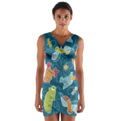 Animals Bee Frog Peacock Iguana Jpeg Wrap Front Bodycon Dress