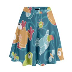 Animals Bee Frog Peacock Iguana Jpeg High Waist Skirt