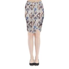 Brown Midi Wrap Pencil Skirt