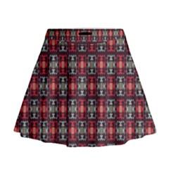 Cells White Black Gray Mini Flare Skirt