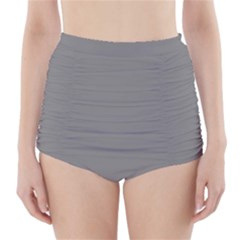 Color Grey High-Waisted Bikini Bottoms