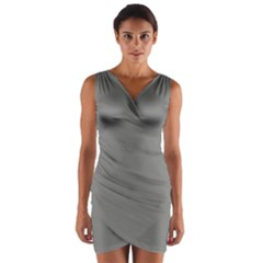 Color Grey Wrap Front Bodycon Dress
