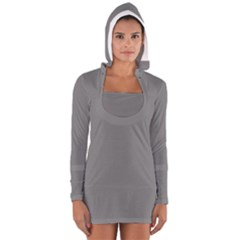 Color Grey Women s Long Sleeve Hooded T-shirt