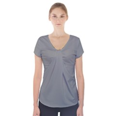 Color Grey Short Sleeve Front Detail Top