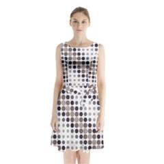 Circle Sleeveless Chiffon Waist Tie Dress