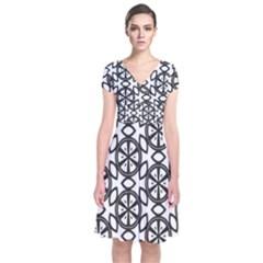 Citrus Coloring Short Sleeve Front Wrap Dress