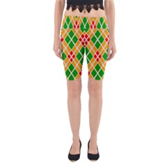 Chevron Wave Green Red Orange Line Yoga Cropped Leggings
