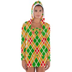Chevron Wave Green Red Orange Line Women s Long Sleeve Hooded T-shirt