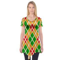 Chevron Wave Green Red Orange Line Short Sleeve Tunic