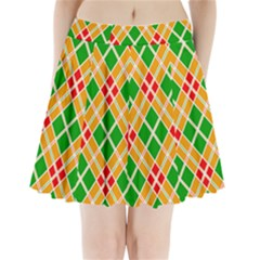 Chevron Wave Green Red Orange Line Pleated Mini Skirt