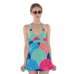 Diagonal Color Way Halter Swimsuit Dress