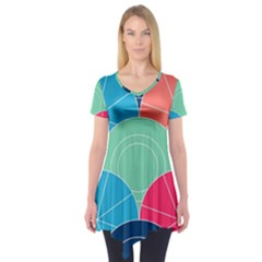 Diagonal Color Way Short Sleeve Tunic
