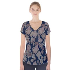 Fabrics Floral Short Sleeve Front Detail Top