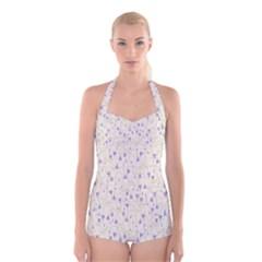 Flower Purple Boyleg Halter Swimsuit