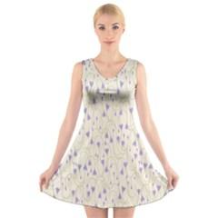 Flower Purple V-Neck Sleeveless Skater Dress