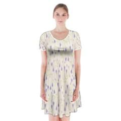 Flower Purple Short Sleeve V-neck Flare Dress