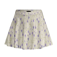 Flower Purple Mini Flare Skirt
