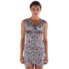 Fruit Flower Red Wrap Front Bodycon Dress
