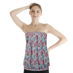 Fruit Flower Red Strapless Top