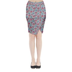 Fruit Flower Red Midi Wrap Pencil Skirt