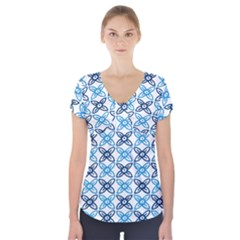 Geometri Flower Short Sleeve Front Detail Top