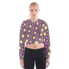 Gloves Sun Purple Yellow Women s Cropped Sweatshirt