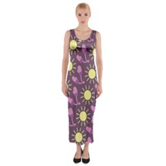 Gloves Sun Purple Yellow Fitted Maxi Dress
