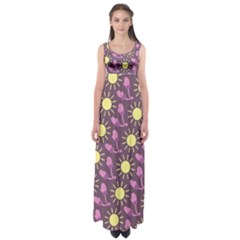 Gloves Sun Purple Yellow Empire Waist Maxi Dress