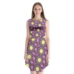 Gloves Sun Purple Yellow Sleeveless Chiffon Dress