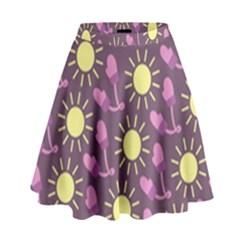 Gloves Sun Purple Yellow High Waist Skirt