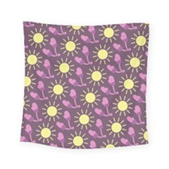 Gloves Sun Purple Yellow Square Tapestry (small)